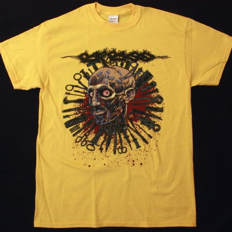 CARCASS HEAD ONE FOOT 2016 TOUR NEW YELLOW T-SHIRT