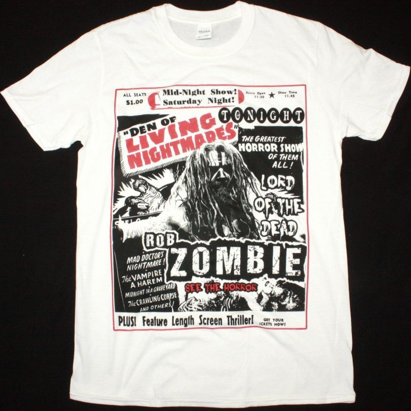ROB ZOMBIE LIVING NIGHTMARES NEW WHITE T SHIRT