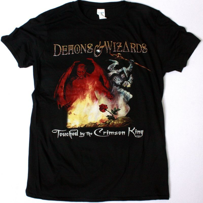 DEMONS & WIZARDS TOUCHED BY THE CRIMSON KING NEW BLACK T-SHIRT