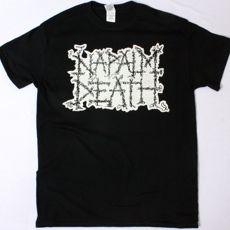 NAPALM DEATH LOGO WHITE NEW BLACK T-SHIRT