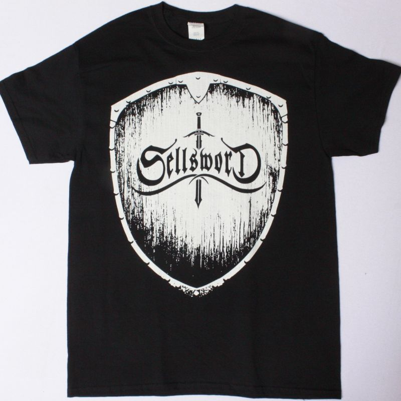 SELLSWORD SILVER SCHIELD NEW BLACK T-SHIRT