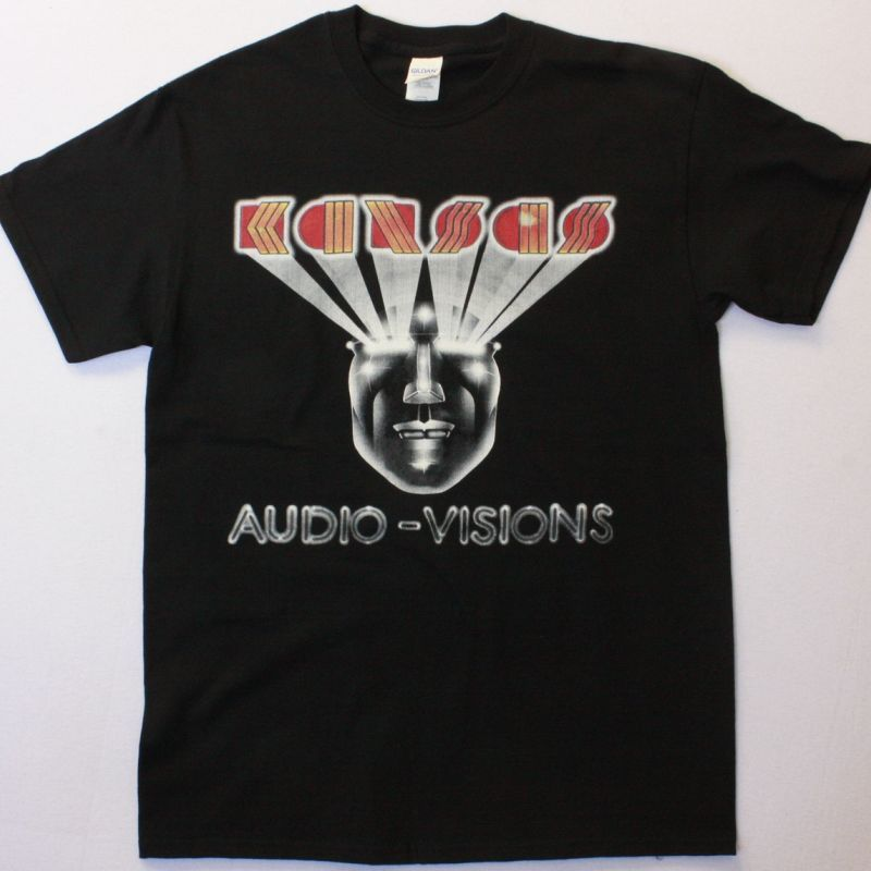 KANSAS AUDIO-VISIONS NEW RARE BLACK T-SHIRT