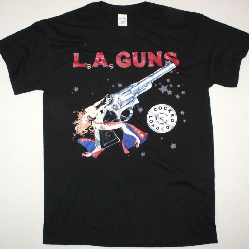 L.A. GUNS COCKED AND LOADED NEW BLACK TSHIRT