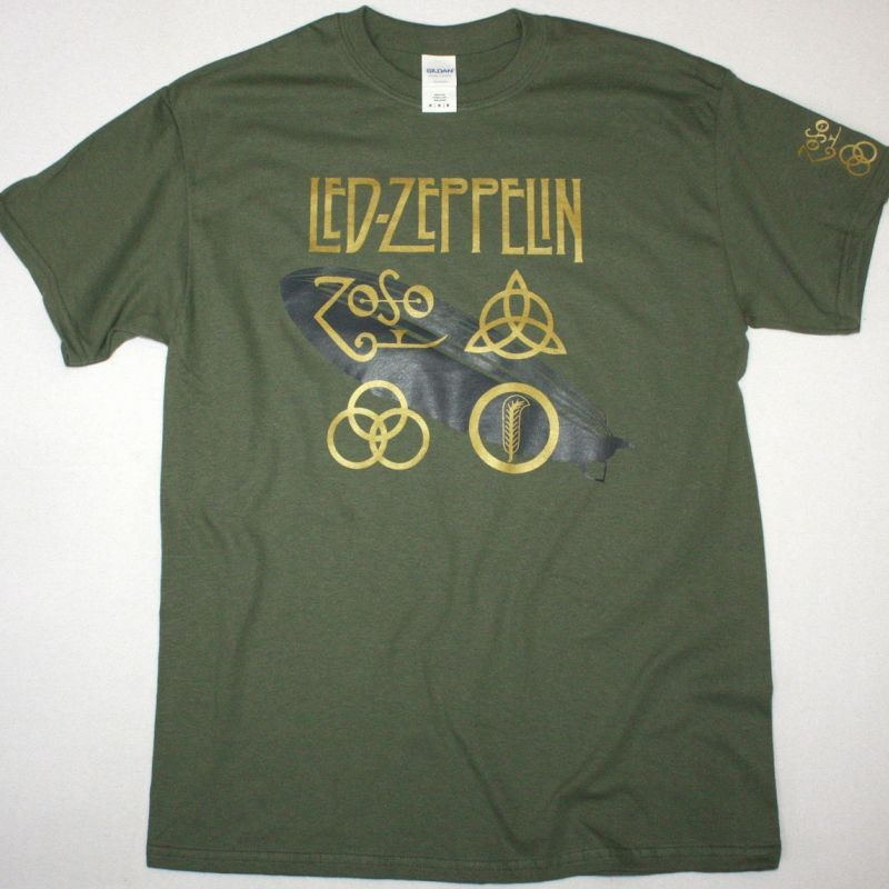 LED ZEPPELIN SYMBOLS NEW KAKHI T-SHIRT