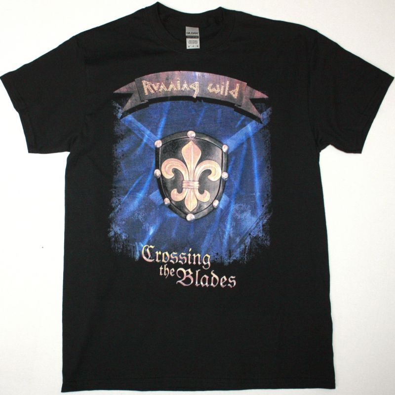 RUNNING WILD CROSSING THE BLADES NEW BLACK T SHIRT