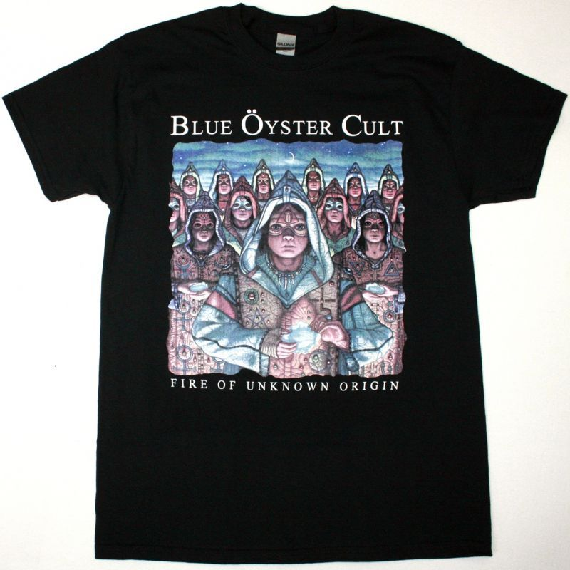 BLUE ÖYSTER CULT FIRE OF UNKNOWN ORIGIN NEW BLACK T SHIRT