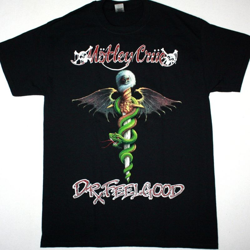 MOTLEY CRUE DR. FEELGOOD CRUE FANS IS THE BEST NEW BLACK T-SHIRT
