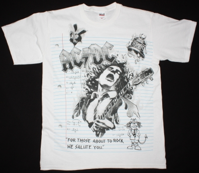 AC DC NOTEBOOK AC/DC NEW WHITE T-SHIRT