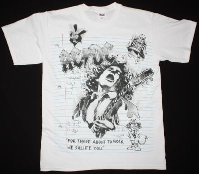 AC DC NOTEBOOK AC/DC NEW WHITE T-SHIRT