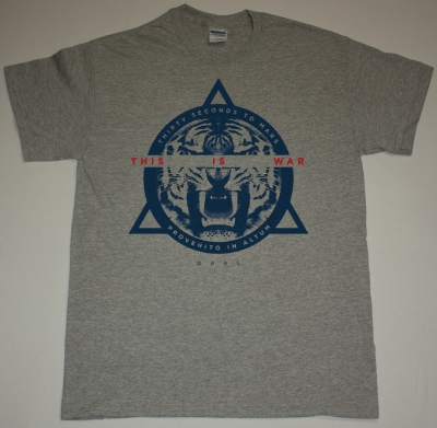 30 SECONDS TO MARS TIGER THIS IS WAR NEW SPORTS GREY T-SHIRT