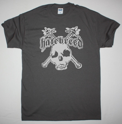 HATEBREED SKULL LOGO NEW GREY CHARCOAL T-SHIRT