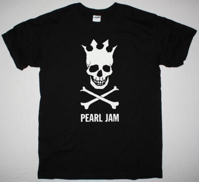 PEARL JAM SKULL CROWN NEW BLACK T SHIRT