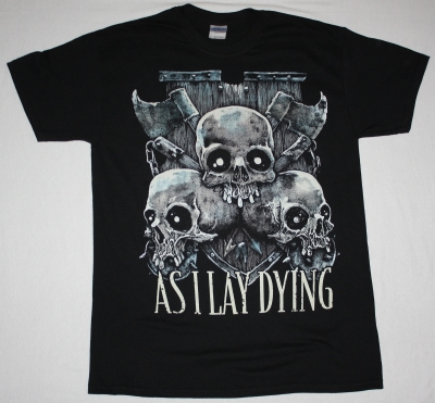 AS I LAY DYING SKULLS NEW BLACK T-SHIRT