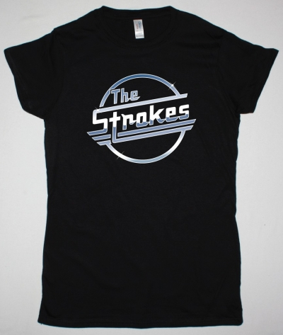 THE STROKES LOGO NEW BLACK LADY T-SHIRT