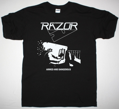 RAZOR ARMED AND DANGEROUS 1984 NEW BLACK T SHIRT