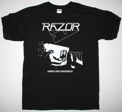 RAZOR ARMED AND DANGEROUS 1984 NEW BLACK T SHIRT