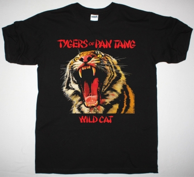 TYGERS OF PAN TANG WILD CAT 1980 NEW BLACK T-SHIRT