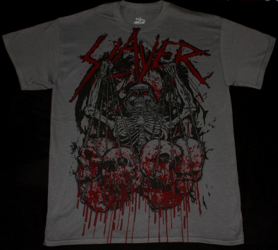 SLAYER SKULL TROPHIES NEW GREY CHARCOAL T-SHIRT