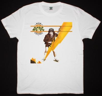 AC DC HIGH VOLTAGE 1976 AC/DC NEW WHITE T-SHIRT