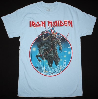 IRON MAIDEN MAIDEN ENGLAND TOUR 2014 NEW LIGHT BLUE T-SHIRT