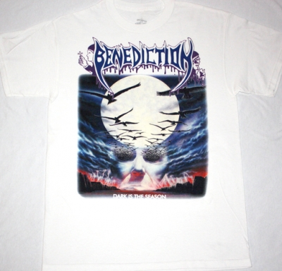 BENEDICTION DARK IS THE SEASON'92 NEW WHITE T-SHIRT