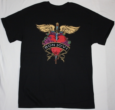 BON JOVI HEART LOGO HEART NEW BLACK T-SHIRT