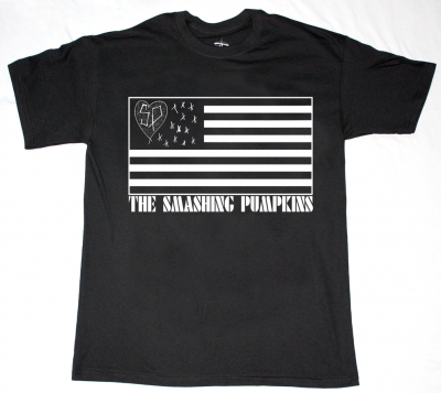 SMASHING PUMPKINS FLAG LOGO  NEW BLACK T-SHIRT