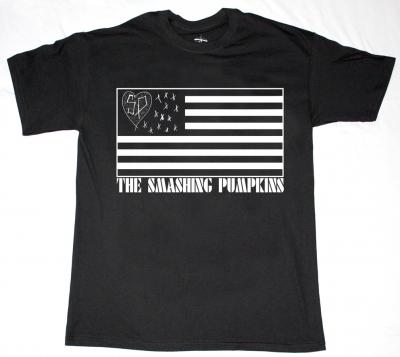 SMASHING PUMPKINS FLAG LOGO  NEW BLACK T-SHIRT