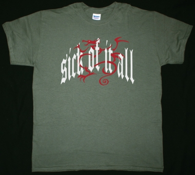 SICK OF IT ALL DRAGON LOGO NEW MILITARY GREEN T-SHIRT