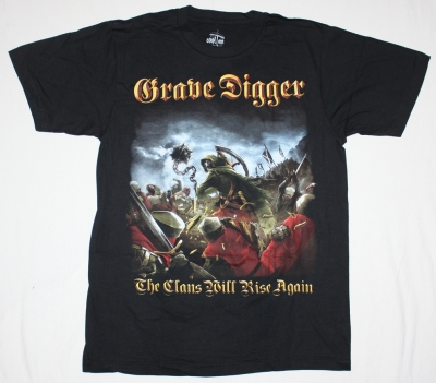 GRAVE DIGGER THE CLANS WILL RISE AGAIN'10  NEW BLACK T-SHIRT
