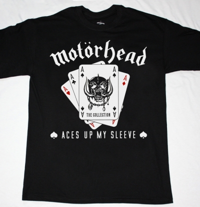 MOTORHEAD ACES UP MY SLEEVE NEW BLACK T-SHIRT