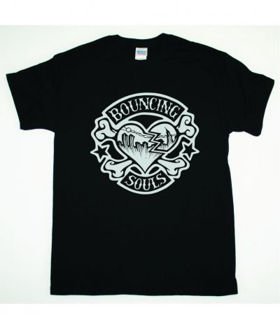 BOUNCING SOULS HEART LOGO NEW BLACK T SHIRT