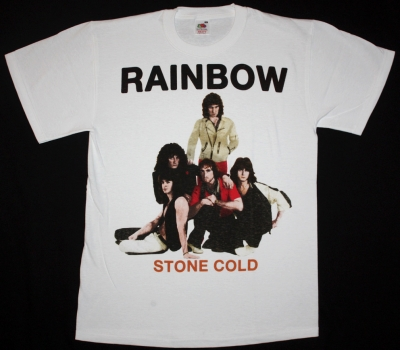 RAINBOW STONE COLD  WHITE NEW T-SHIRT