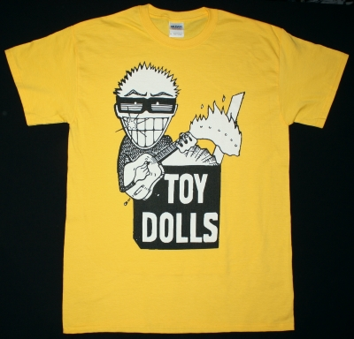THE TOY DOLLS IDLE GOSSIP NEW YELLOW  T-SHIRT