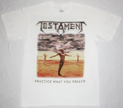 TESTAMENT PRACTICE WHAT YOU PREACH'89 NEW WHITE T-SHIRT