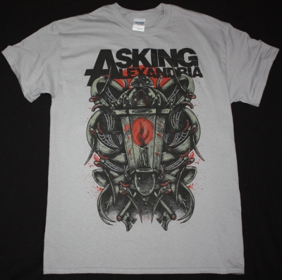 ASKING ALEXANDRIA CANDLE NEW LIGHT GREY T-SHIRT