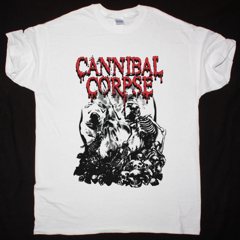 CANNIBAL CORPSE PILE OF SKULLS NEW WHITE T-SHIRT