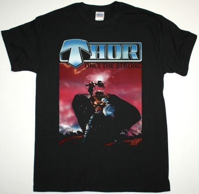 THOR ONLY THE STRONG '85 NEW BLACK T-SHIRT