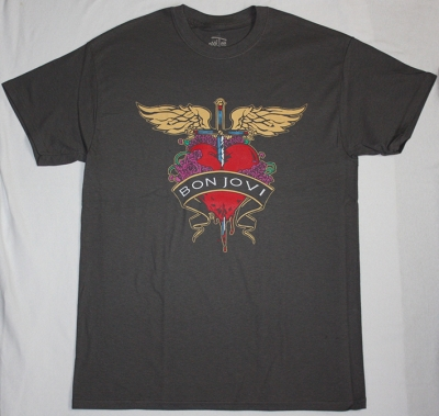 BON JOVI HEART LOGO HEART NEW GREY T-SHIRT