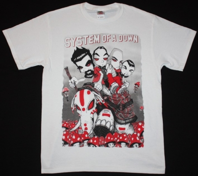 SYSTEM OF A DOWN CARTOON NEW WHITE T-SHIRT