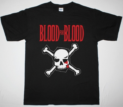BLOOD FOR BLOOD SKULL LOGO NEW BLACK T-SHIRT