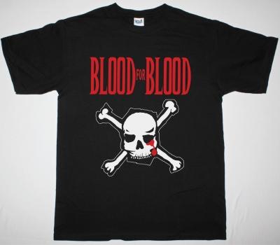 BLOOD FOR BLOOD SKULL LOGO NEW BLACK T-SHIRT