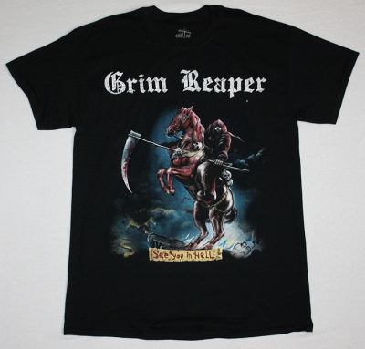 GRIM REAPER SEE YOU IN HELL 1983  NEW BLACK T-SHIRT
