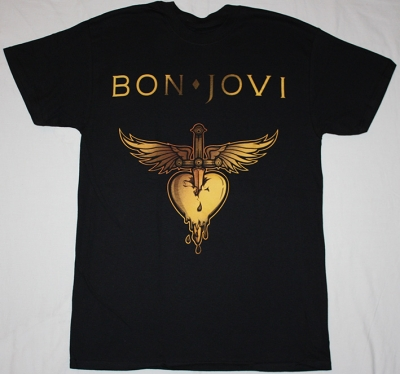BON JOVI GREATEST HITS LOGO HEART NEW BLACK T-SHIRT