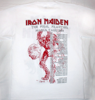 IRON MAIDEN THE FINAL FRONTIER TOUR 2011 NEW WHITE T-SHIRT