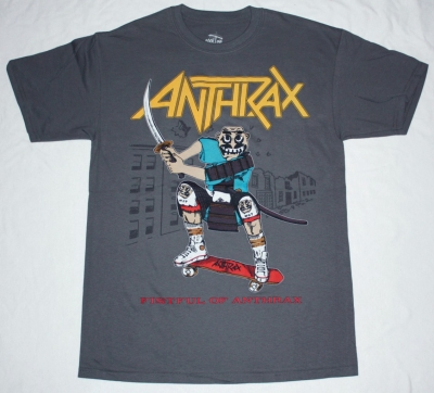 ANTHRAX FISTFUL OF ANTHRAX'87 NEW GREY CHARCOAL T-SHIRT