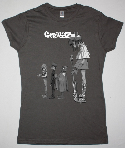 GORILLAZ NOODLE NEW LADY GREY CHARCOAL T SHIRT