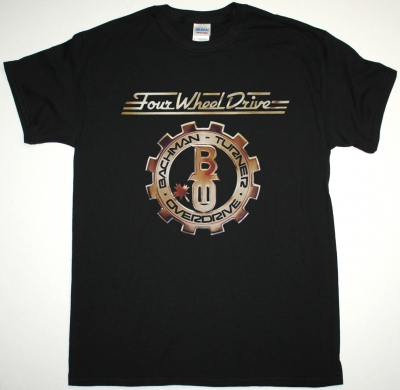 BACHMAN-TURNER OVERDRIVE FOUR WHEEL DRIVE 1975 NEW BLACK T-SHIRT