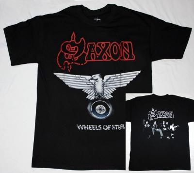 SAXON WHEELS OF STEEL'80 S-XXL NEW BLACK T-SHIRT