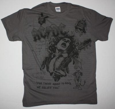 AC DC NOTEBOOK AC/DC NEW GREY CHARCOAL T-SHIRT